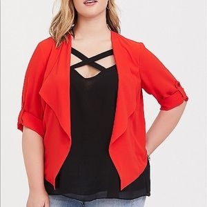 Nwt Torrid size 4 Red Crepe Blazer